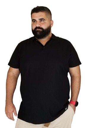 Xanimal Erkek Siyah Büyük Beden Polo Yaka Cepsiz  T-shirt