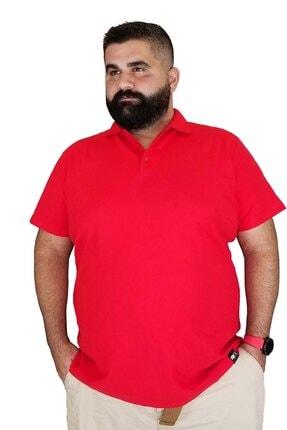 Xanimal Erkek Kırmızı Büyük Beden Polo Yaka Cepsiz Spor T-shirt