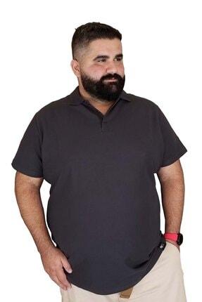 Xanimal Erkek Gri Büyük Beden Polo Yaka Cepsiz Spor T-shirt