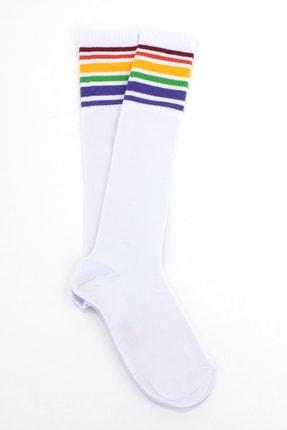 Hane14 Unisex Beyaz Gökkuşağı Renkli Çizgili Diz Altı Pamuklu Spor Çorap