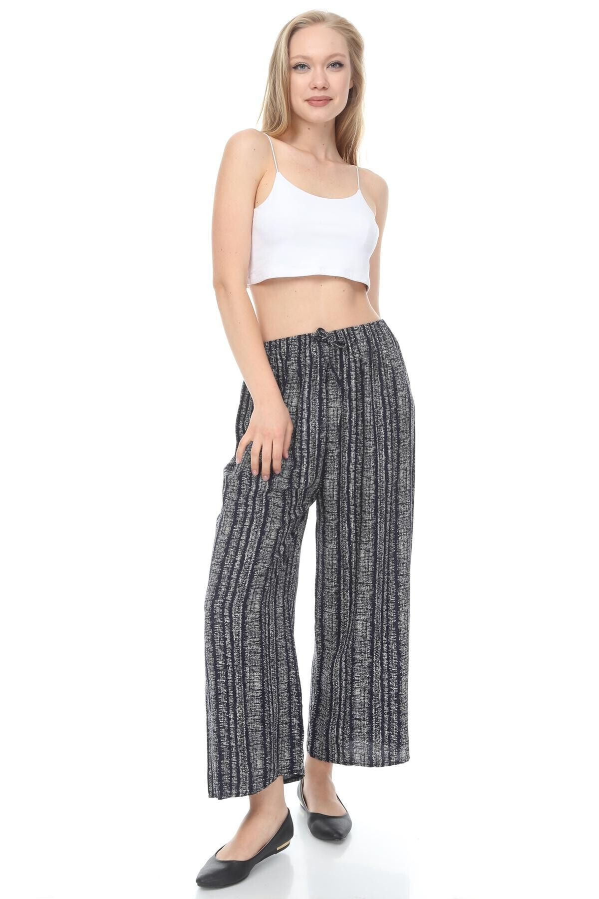 sarıbalon Kadın Lacivert Beli Lastikli Pamuklu Salaş Kalıp Zemin Pantolon 1