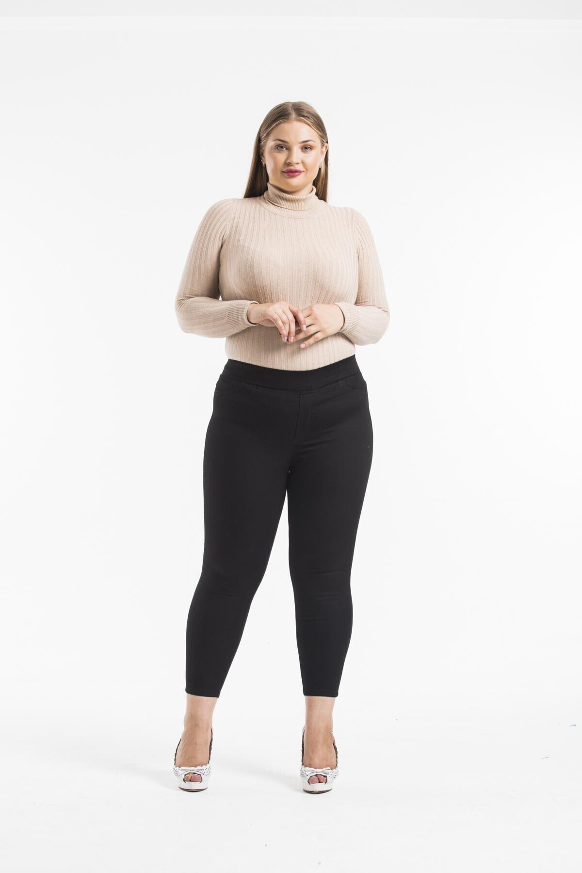 sarıbalon Kadın Siyah Esnek Saten Kumaş Beli Lastikli Skinny Pantolon 1