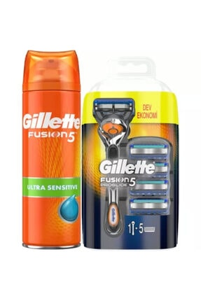 Gillette Fusion Makine + 4 Bıçak + Fusion 200 ml Jel + Çanta