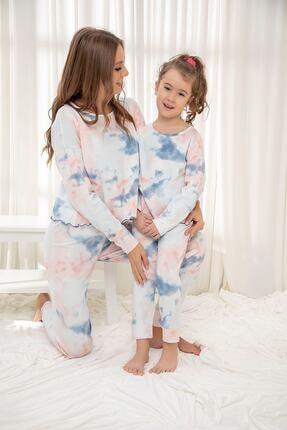 Siyah İnci Pamuklu Likrali Batik Desenli Pijama Takım