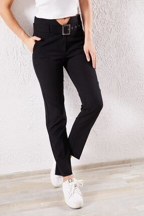 Zafoni Kadın Siyah Kemerli Klasik Pantolon