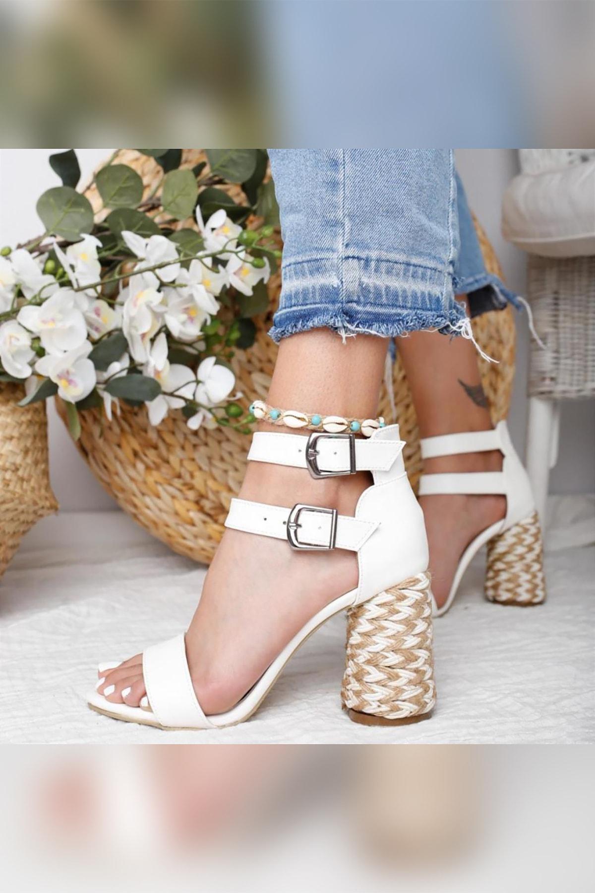 Limoya Galilea Beyaz Çift Bantlı Gerçek Hasır Topuklu Sandalet 2