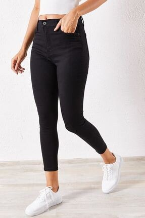 Zafoni Kadın Siyah Likralı Slim Kot Pantolon