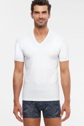 Kom Erkek Beyaz V Yaka Tişört 2'li Paket