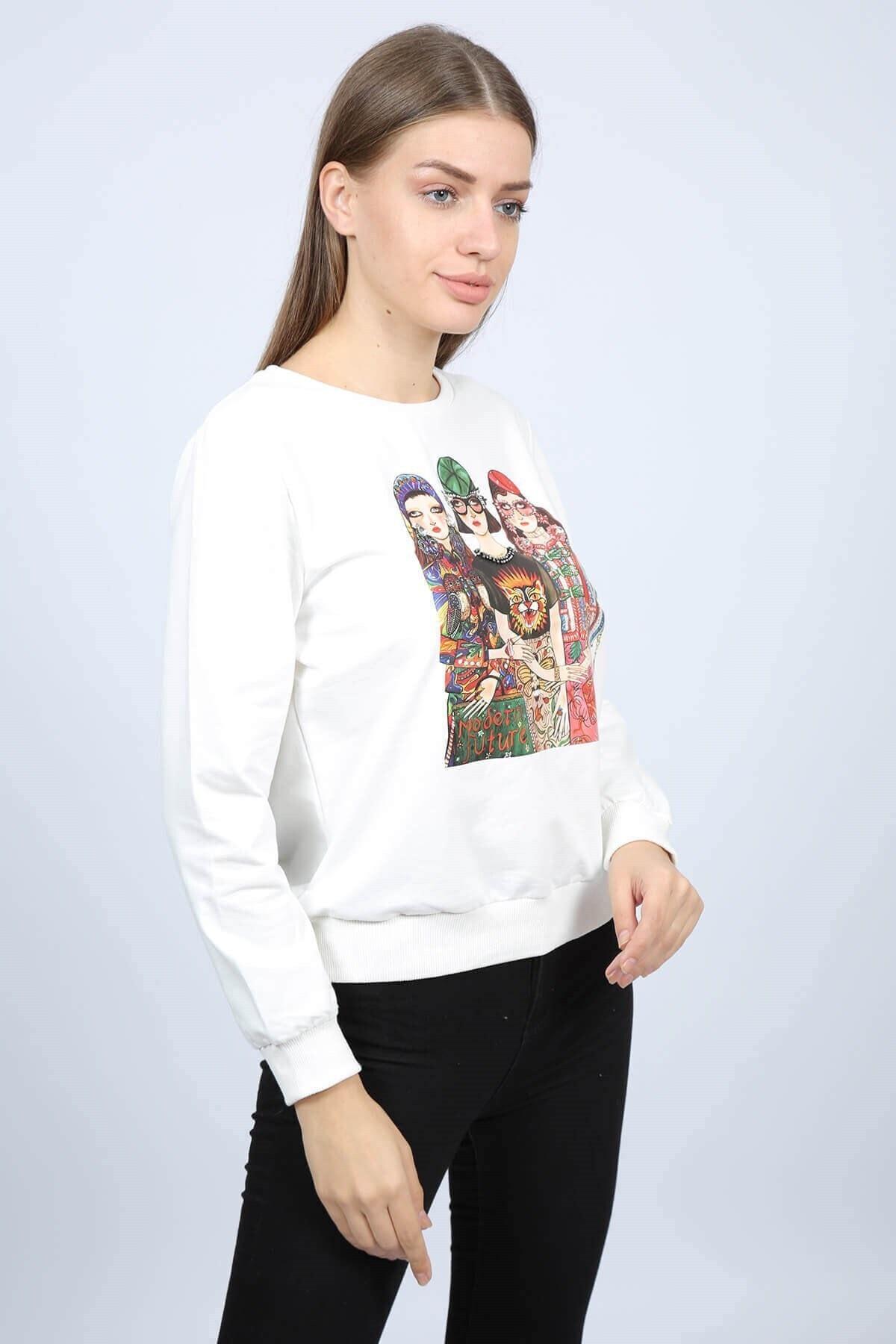 Mossta Kadın Ekru Baskılı Kadın Sweatshirt 2