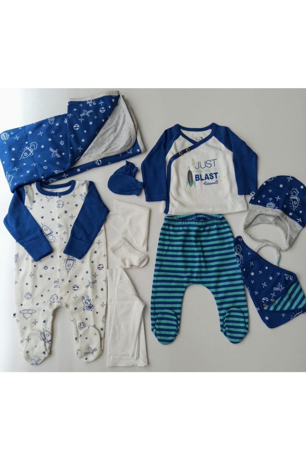 Caramell Erkek Bebek İndigo Tulumlu Hastane Çıkışı 10 Parça 1