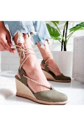 Limoya Peyton Yeşil Keten Hasır Bilekten Sargılı Alçak Dolgu Topuklu Sandalet