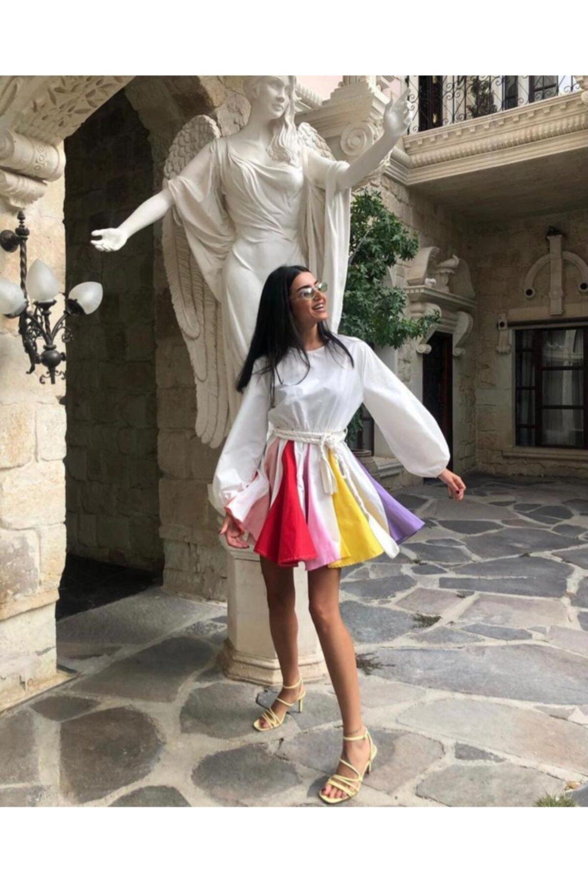 BercesteBoutıque Kadın Beyaz Renkli Lambada Elbise 1