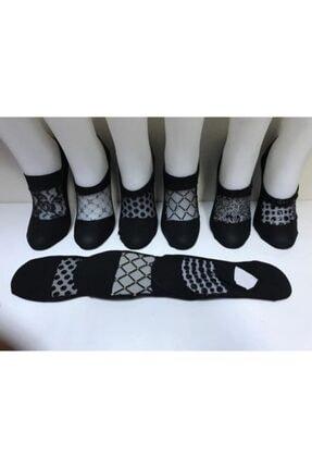 Tutku Kadın Siyah Dantelli Babet Çorap 6 Lı