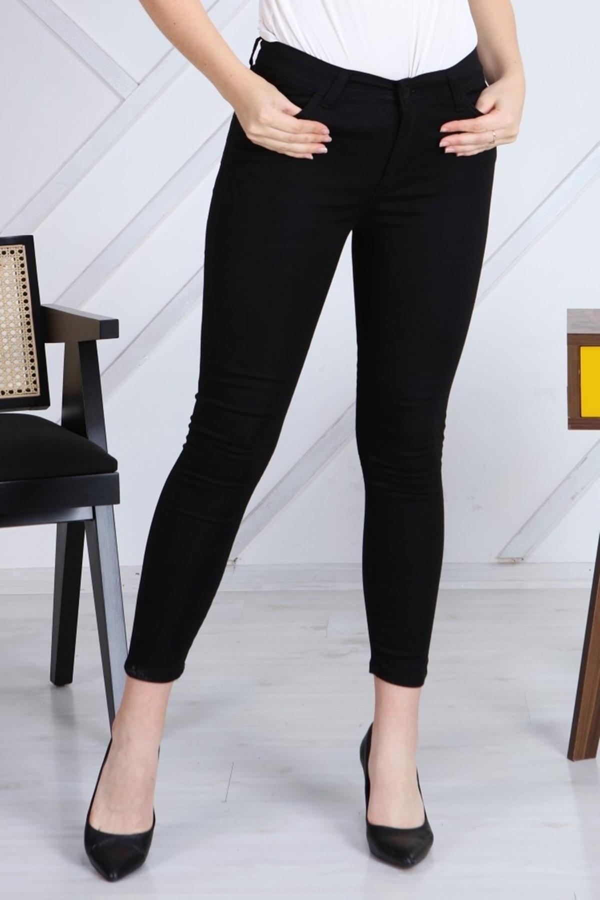 Gül Moda Siyah Gabardin Likralı Dar Paça Pantolon G040-1 1