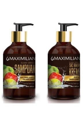 Maximilian Yağlı Saçlar için  Arındırıcı Kepek Karşıtı Elma Sirkeli Şampuan 500 ml + Saç Bakım Kremi 500 ml