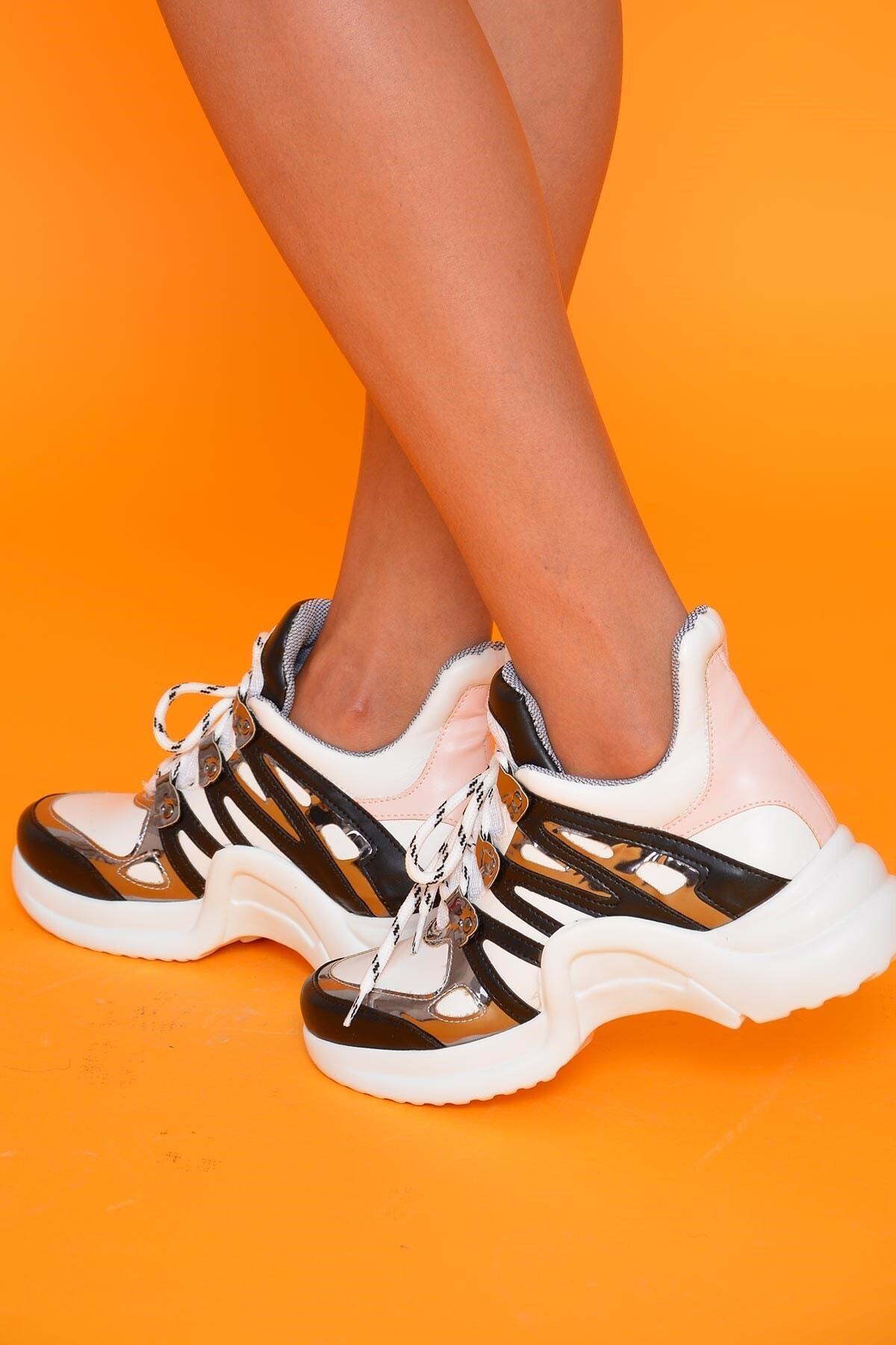 Mossta Kadın Siyah Beyaz Spor Ayakkabı 2