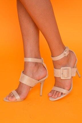 Mossta Kadın Bej Çift Kemer İnce Topuklu Ayakkabı