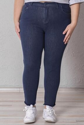 Zafoni Kadın Mavi Battal Enzim Yıkamalı Kot Pantolon