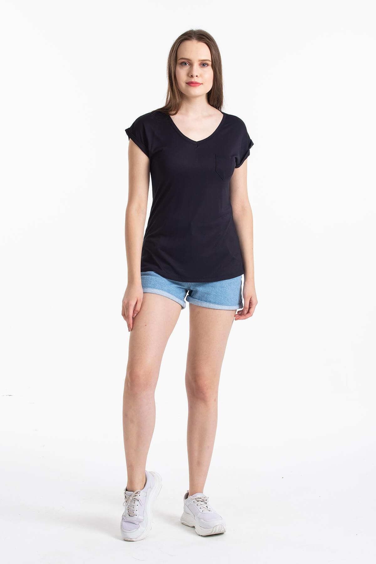 Mossta Kadın Siyah V Yaka Cepli T-shirt 2