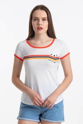 Mossta Kadın Beyaz Vintage Renkli T-shirt