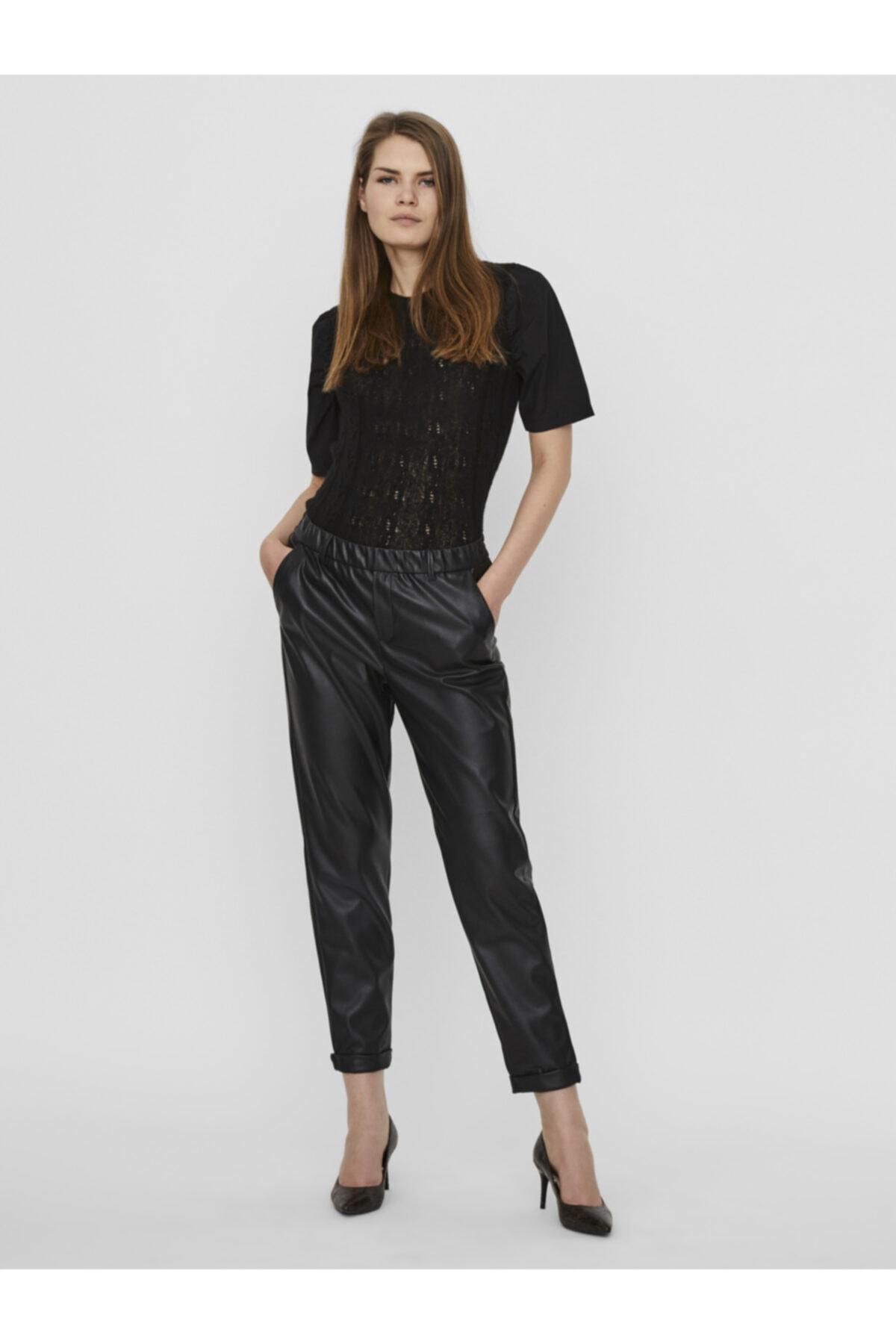 Vero Moda Kadın Siyah Beli Lastikli Deri Pantolon 10237236 VMMAYA 1