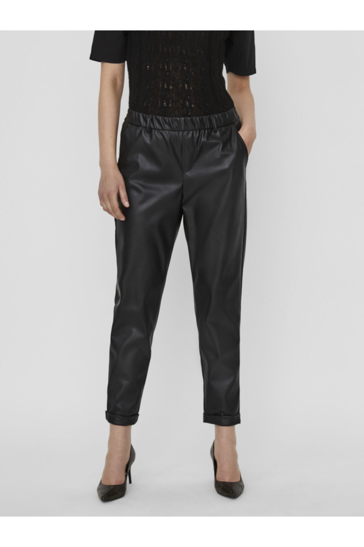Vero Moda Kadın Siyah Beli Lastikli Deri Pantolon 10237236 VMMAYA 2