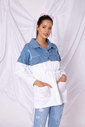 Zafoni Kadın Beyaz Parçalı Mavi Kot Ceket