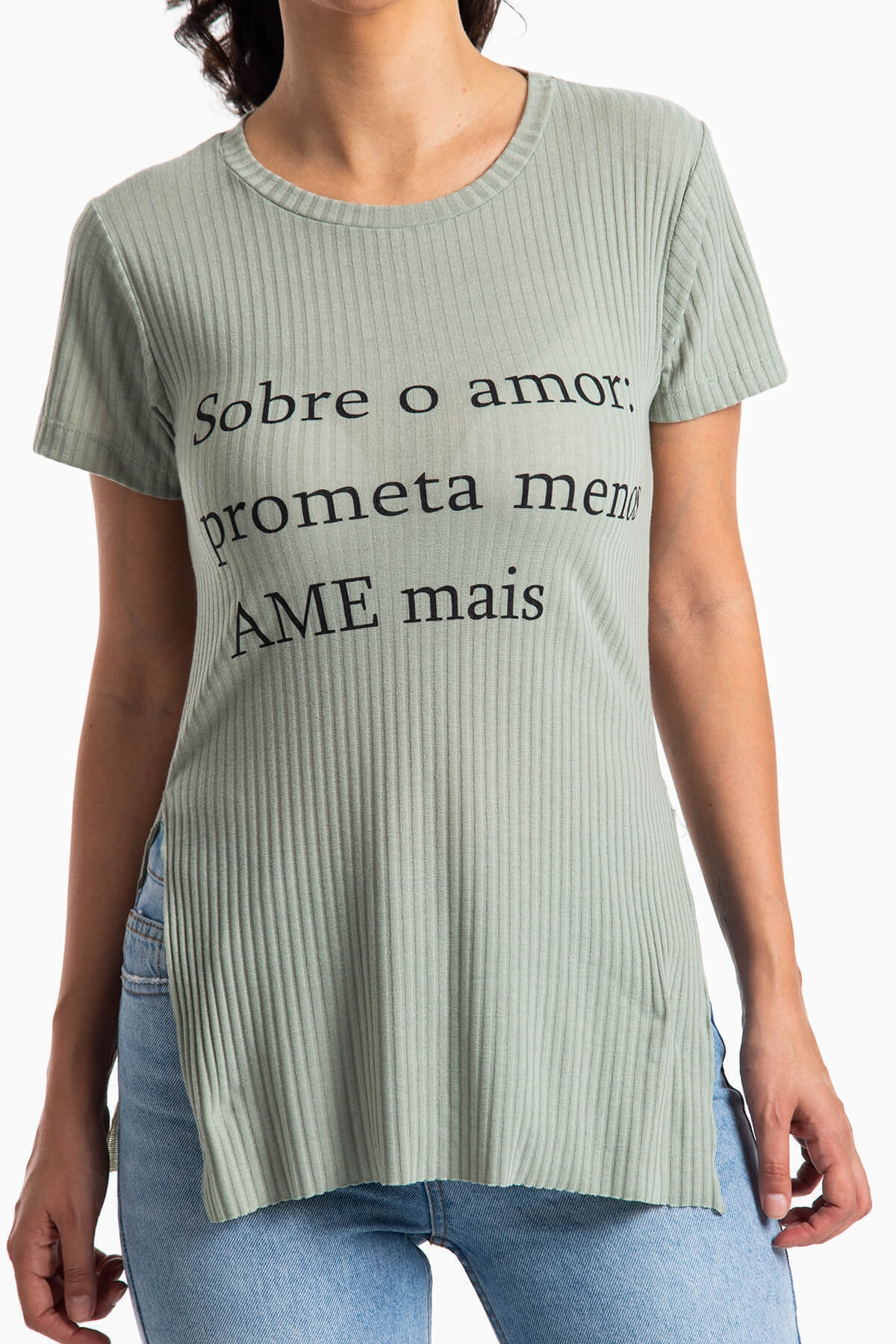 Mossta Kadın Haki Yırtmaçlı Kaşkorse T-shirt 2