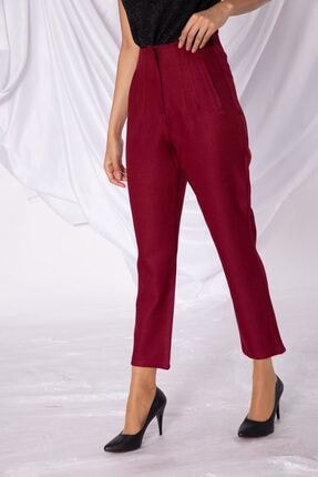 Zafoni Kadın Bordo Sahte Cep Bel Detaylı Kumaş Pantolon