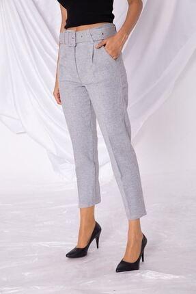 Zafoni Kadın Gri Kumaş Kaşe Pantolon