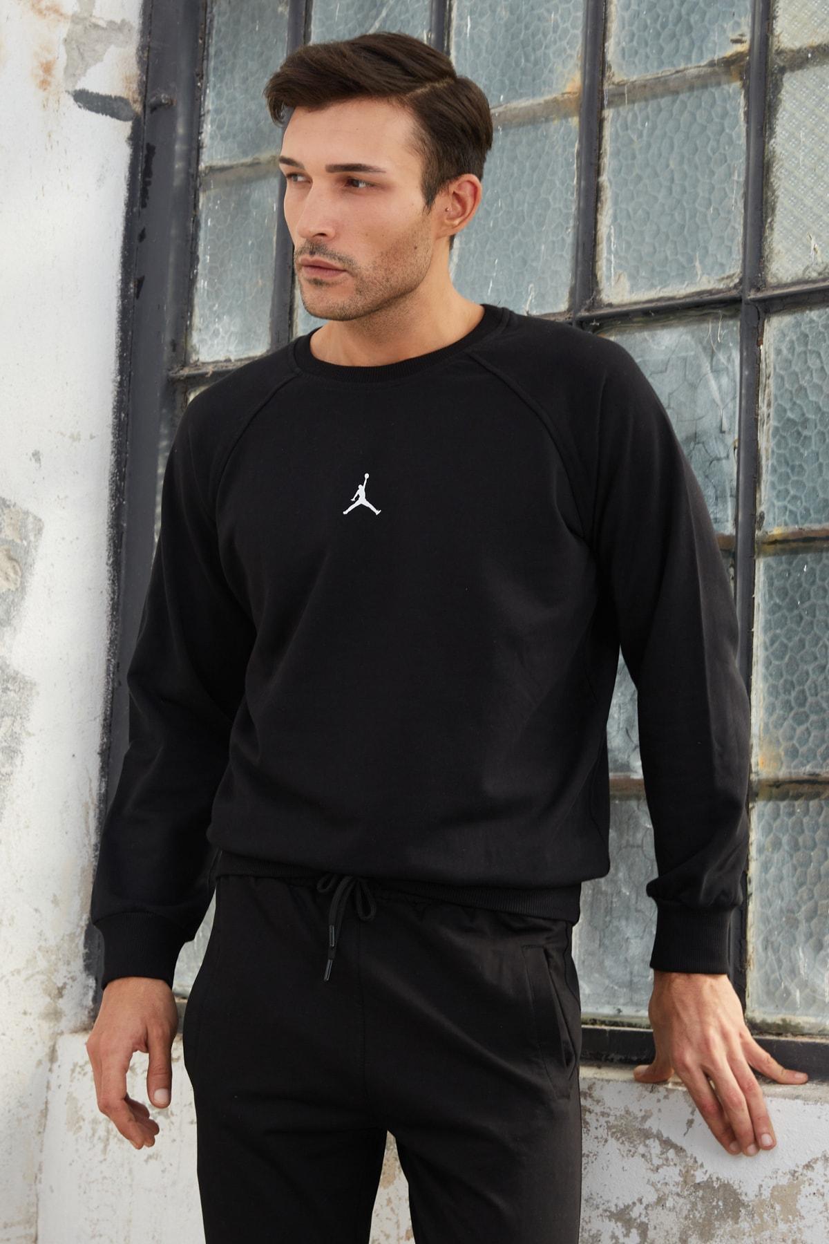 OnlyCool Erkek Siyah Jordan Baskılı Sweatshirt 1