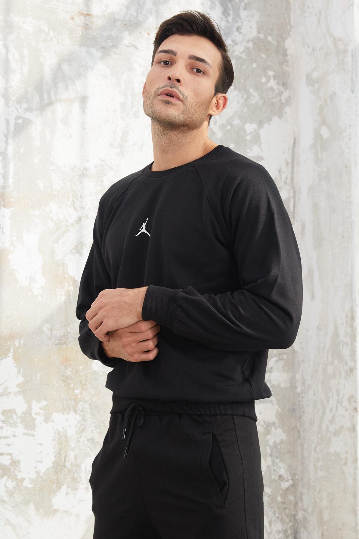 OnlyCool Erkek Siyah Jordan Baskılı Sweatshirt 2