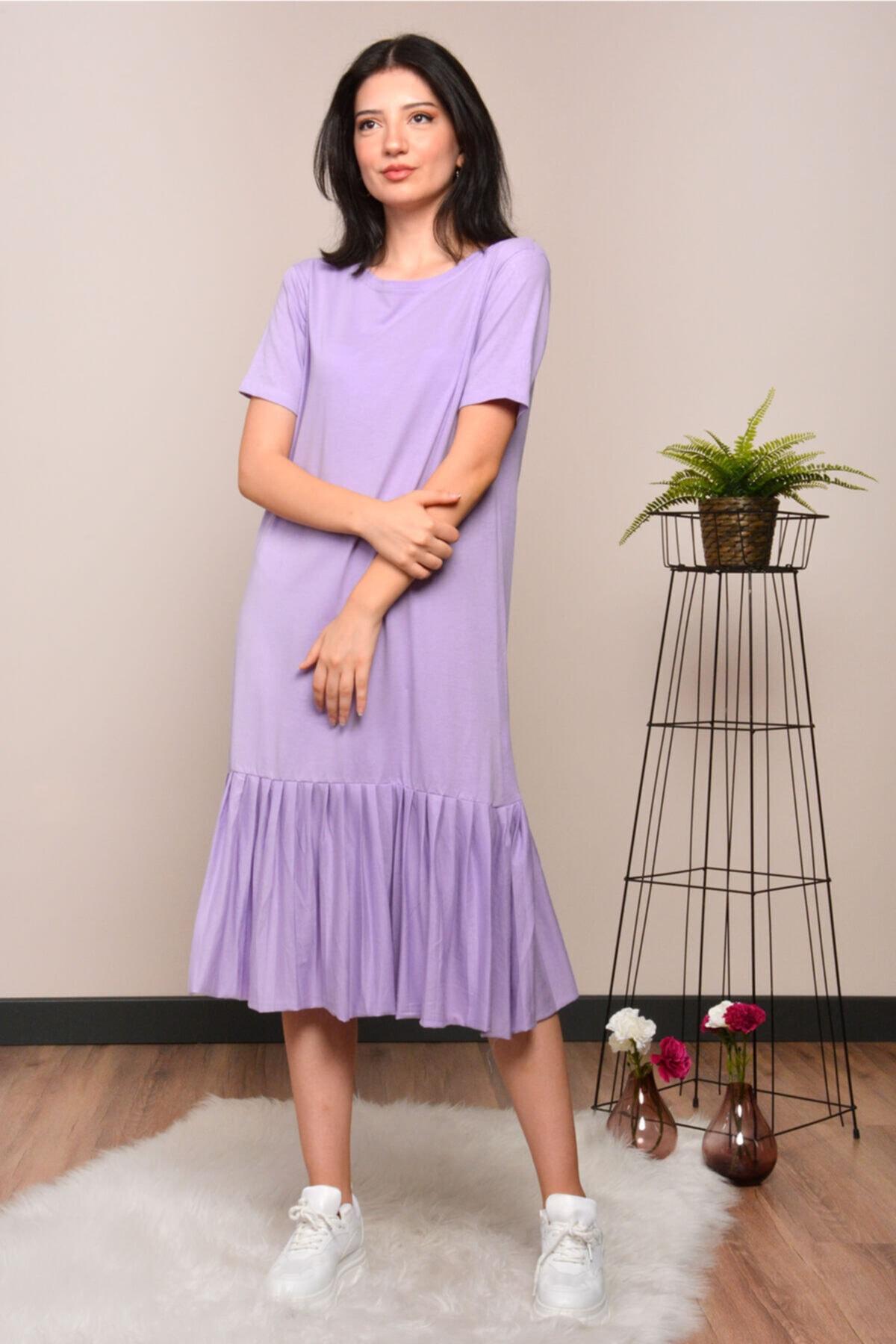 Mossta Kadın Mor Eteği Pileli Elbise 1