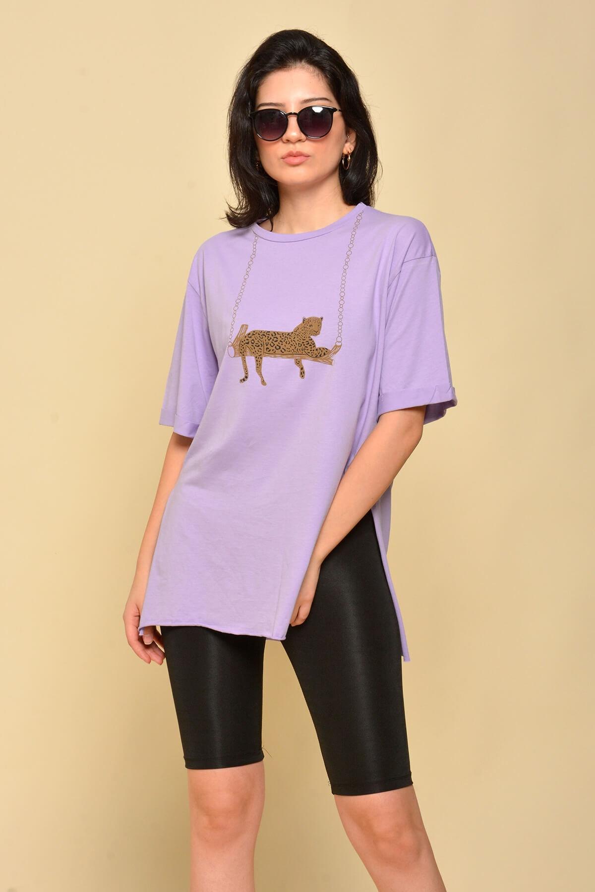 Mossta Kadın Mor Yırtmaçlı Salaş T-shirt 2