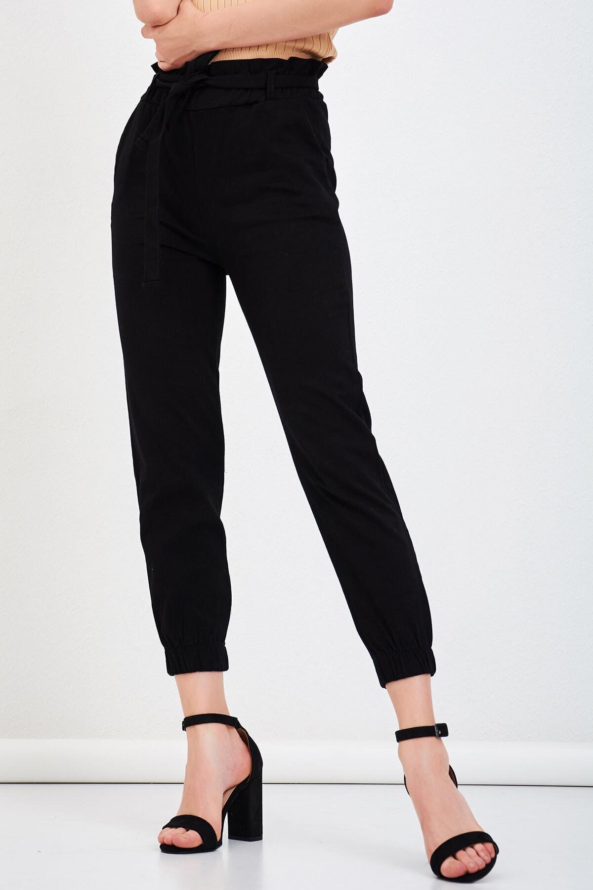 Mossta Kadın Siyah Bel Lastikli Gabardin Pantolon 1