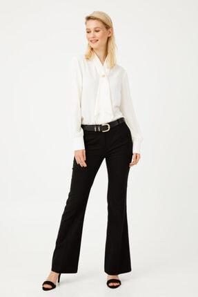 Ekol Kadın Siyah Kemerli Bol Paça Pantolon