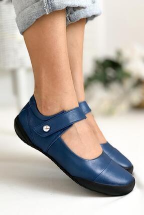 Limoya Kadın Kot Mavi Hakiki Deri Ortopedik Comfort Sandalet