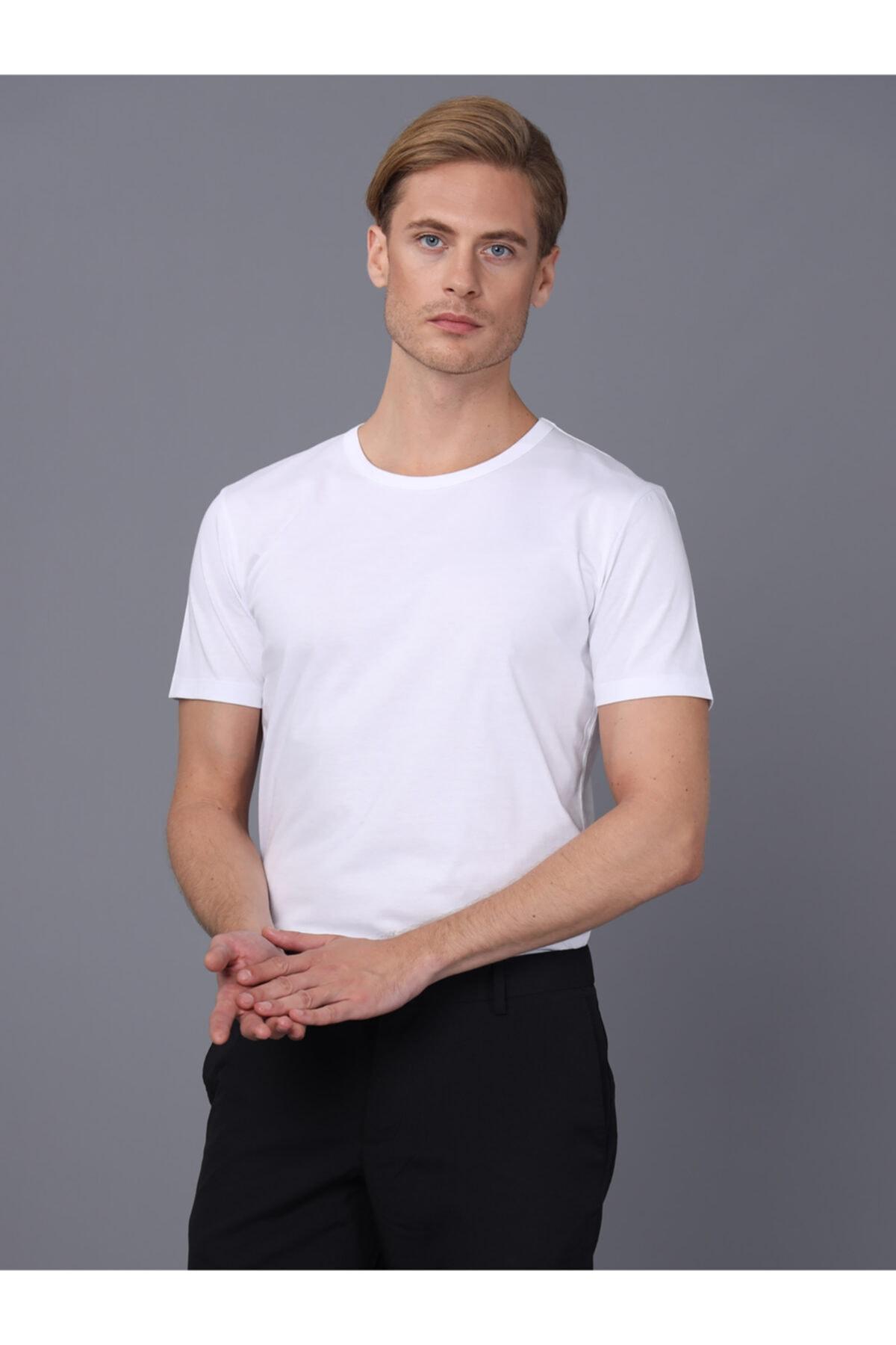 Basics&More Erkek Beyaz Bisiklet Yaka T-shirt 1