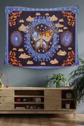 Hediyeler Kapında Mavi Gece ve Gündüz Dekoratif Duvar Örtüsü 100x100