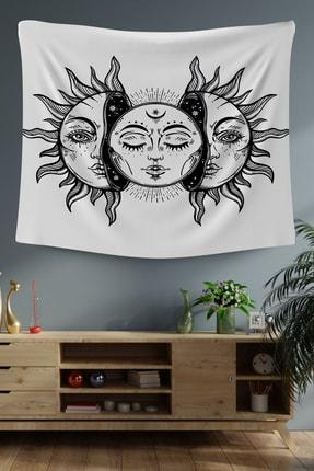 Hediyeler Kapında Beyaz Sun And Moon Dekoratif Duvar Örtüsü 100x100