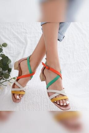 Limoya Kadın Malaya Yeşil Portakal Ten Hardal Süet Multi Alçak Topuklu Sandalet