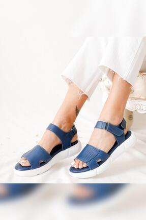 Limoya Kadın Mavi Hakiki Deri Casual Full Ortopedik Sandalet