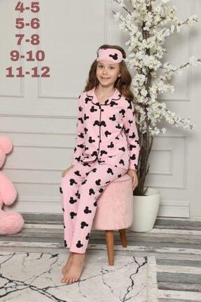 CAROLİNA Kız Çocuk Pembe Mini Desenli Göz Bantlı  Pijama Takımı