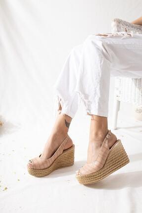 Limoya Kadın Nude Kroko Dolgu Topuklu Sandalet