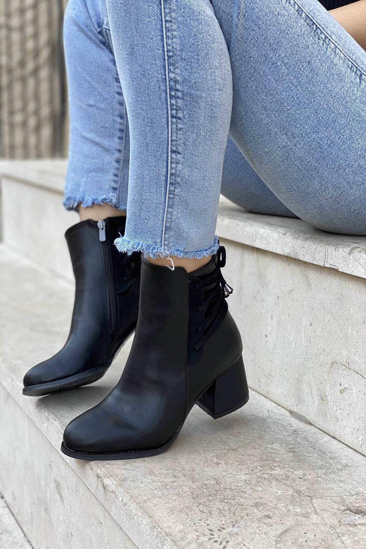 Mida Shoes Siyah Cilt Ipli Fermuarlı Bot 1