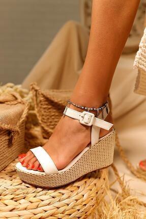 Limoya Kadın Beyaz Cilt Gerçek Hasır Dolgu Topuklu Sandalet