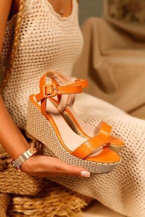 Limoya Kadın Portakal Cilt Gerçek Hasır Dolgu Topuklu Sandalet