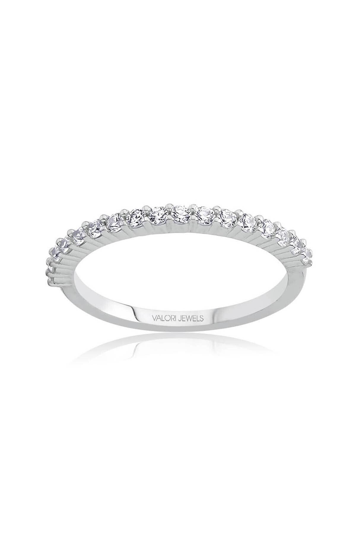 Valori Jewels Yarımtur Zirkon Beyaz Taşlı, Gümüş Yüzük 1
