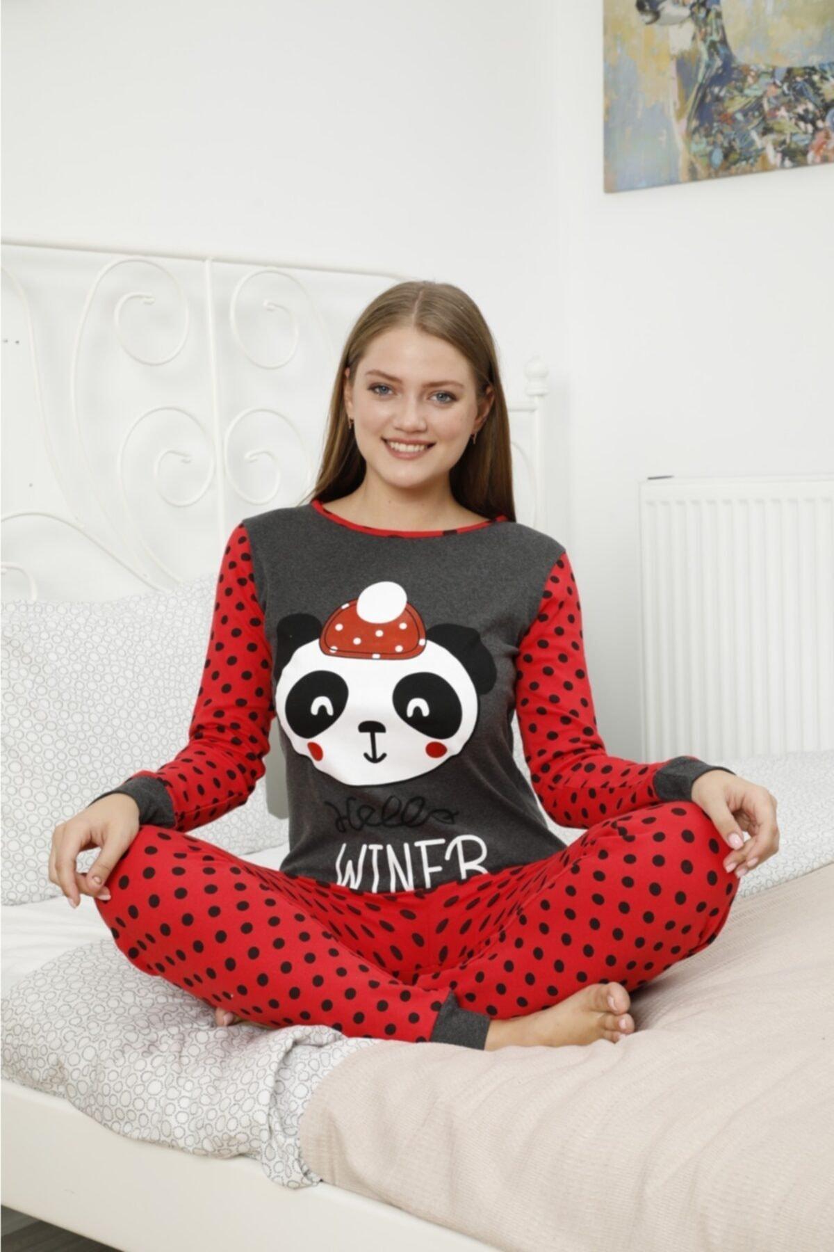 POLKAN Kadın Kırmızı Baskılı Pijama Takımı 1