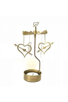 Ceren Kırtasiye Isı Ile Dönen Kalp Mumluk Seti - Dekoratif Şamdan - Gold